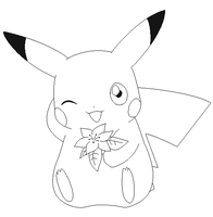 pikachu lineart 3 by michy123
