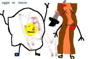 Mr. Eggie vs. bacon by nofxcrackers