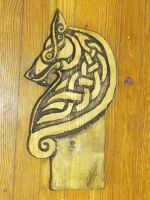 Celtic Wolf Carving by Lupas-Deva