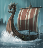 DAY 231. Viking Boat by Cryptid-Creations