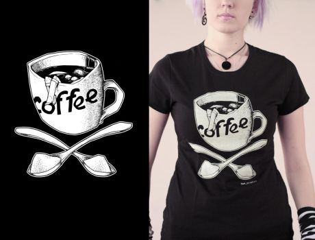 morning  black coffee tshirt by Haidak