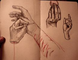 Hands which draw by Tya-tyan