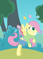 Filly Fluttershy wedgied by butterflies by Liggliluff