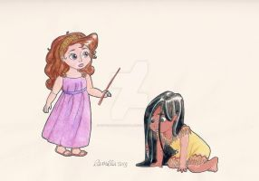 Little Megara and Pocahontas (request) by crystalwaterfall