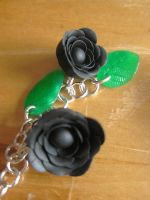 Black Dangling Rose Earrings by Sigilien