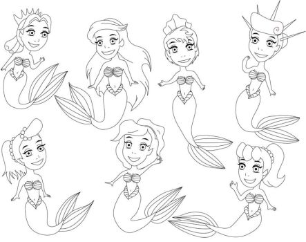 Daughters of Triton - Lineart by nadda1984