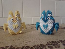 3D Origami Yellow and Blue Owl by Vycka3DO