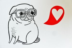 Gemma Correll style Pug Painting 1 by JWBeyond