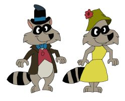 Brer Raccoon and Sister Raccoon by HunterxColleen
