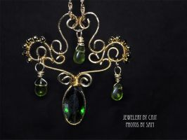Green and Gold Pendant by tanyquil