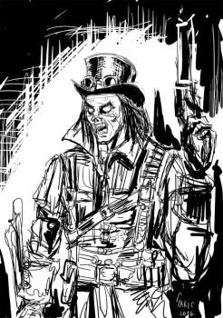 Dark Bone Zombie Steampunk sketch by daliborgaric