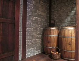 Barrels And Baskets Under The Stairs by AtriellMe
