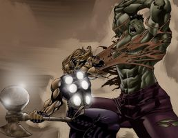 hulk vs. thor by DXSinfinite