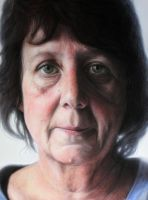 Detail view of my mothers portrait by AtomiccircuS