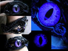 Purple Dragon Black Rose Bracelet - Custom Order by LadyPirotessa
