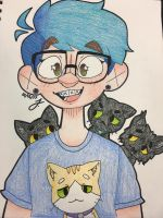 my egotistical self and my cats by ego-boi