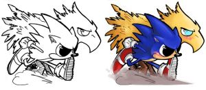 Chibi - Sonic + Chocobo by ElectroCereal