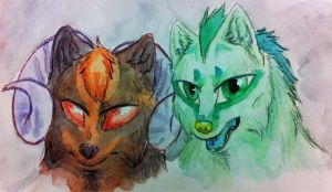 Watercolor Practice: Reithe and Vincent by YuPuffin