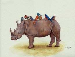Rhino and His Pretty Birds by IreneShpak