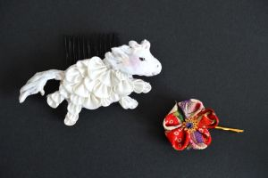 Jumping Kanzashi Horse. Fat and Playful! by hanatsukuri