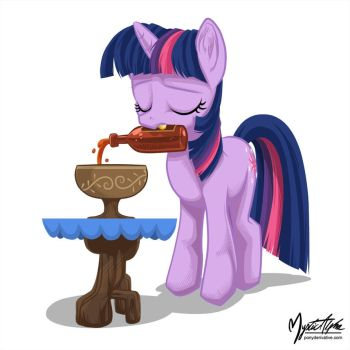 Twilight Sparkle Drinking by mysticalpha