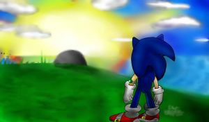 My Drawing of Sonic Unleashed - Final Scene - by I-G-imagination