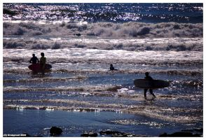 Surfers at Bad wolf bay 1 by Grekwood