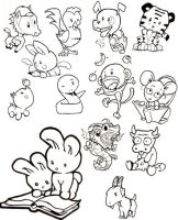 Cute Chinese zodiac animals by officemonkeyking
