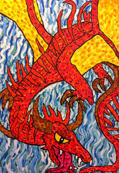 Flying Dragon Painting by Viperwings