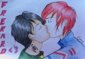 frerard kiss by MyAbsentRomance
