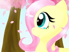 Fluttershy in the Sakuras tree v2 by IruNekagi