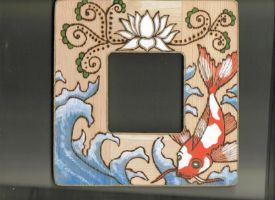 Woodburned Koi photo frame by StonerKitty