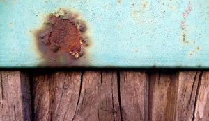Blue paint, rusty stain and wood texture by mercurycode