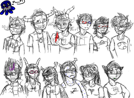 Sketchy Troll lineup by gin-the-lonewolf