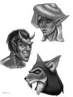 Head Sketches 1 by umbrafox