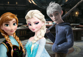 Elsa, Anna and Jack by Queen-of--Snow