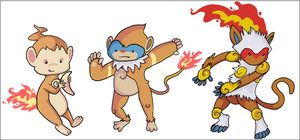 Chimchar, Monferno, Infernape by HappyCrumble