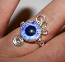Wire Wrap Adjustable Purple Eye Ring by Create-A-Pendant