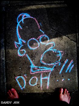 Homer Simpson: Sidewalk Chalk Drawing by Dandy-Jon