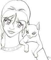 A Girl and Her Cat by mythical-darkener