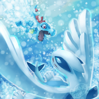 Totodile vs. Lugia by silverava