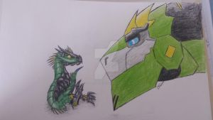 Bluetail and grimlock.  daddy with daughter by TFP-Starfall
