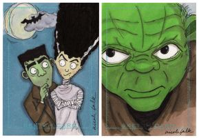 Monsters and Yoda Sketch Cards by FaerieShadows