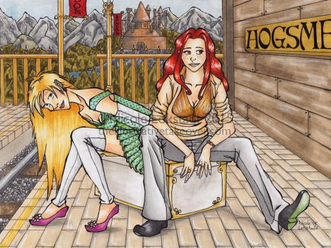 Ginny and Luna at Hogsmead Station by TinyQ