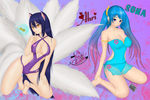 Sona Ahri Swimsuit League of Legends by adream0fsin