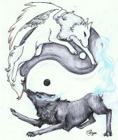 Yin and Yang Wolves by bluemist72