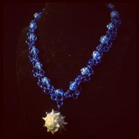 Lady Luck Natural Shell Necklace in Blue by LuckyFoxMerchant