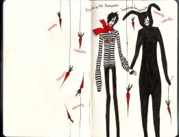 Psycho and the Bunnyman by caught-cartooning