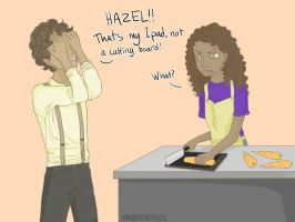 Hazel accidentally destroys technical things by Vandenpoel