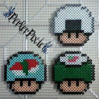 Sushi and Riceball Mushrooms by PerlerPixie